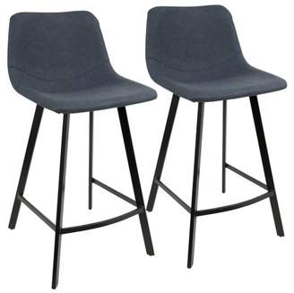 Lumisource Outlaw Industrial Counter Stool in Blue PU by Set of 2