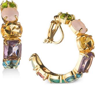 "Carolee Gold-Tone Multi-Stone 1"" Clip-On Hoop Earrings"