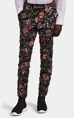 Comme des Garcons Men's Floral-Embroidered Ruched Tulle Trousers - Black