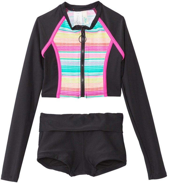 Hobie Girls' Swimwear Salt Air Stripe L/S Zip Rash Guard Set (7yrs14yrs) - 8140629