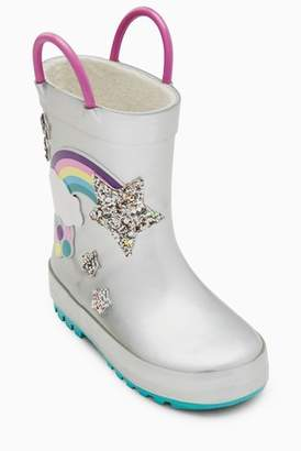 Next Girls Silver Rainbow Wellies (Younger)