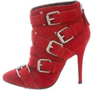 Giuseppe Zanotti x Balmain Suede Buckle-Embellished Booties Red x Balmain Suede Buckle-Embellished Booties