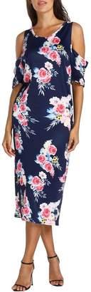 Tenworld Dress Women Floral Print Off Shoulder Bodycon Dress Casual Pregnancy Maternity Dress (M, )