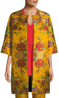 Etro Chinoiserie Floral-Jacquard 3/4-Sleeve Topper Jacket