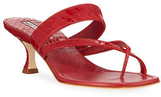 Manolo Blahnik Susa Strappy Snakeskin Thong Sandals