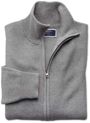 Charles Tyrwhitt Silver Pima Cotton Textured Zip Through Cardigan Size Large