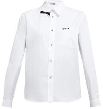 Miu Miu Bow Embellished Cotton Poplin Shirt - Womens - White