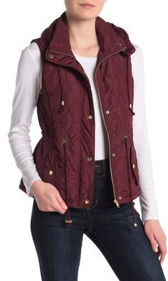 Love Tree Quilted Faux Fur Lined Vest With Detachable Hood