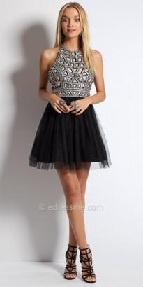Camille La Vie Sequin Laser Cut Halter Homecoming Dress $130 thestylecure.com