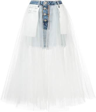 Unravel Project denim tulle layered skirt
