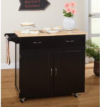 Alcott Hill Sammons Kitchen Island with Wood Top Base