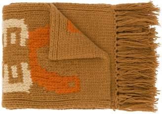 YMC motif fringed edge scarf
