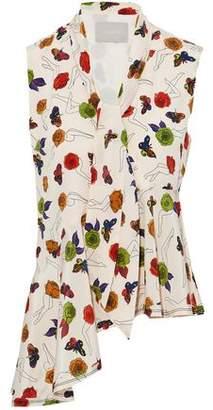 Jason Wu Asymmetric Pussy-Bow Floral-Print Silk-Crepe De Chine Top