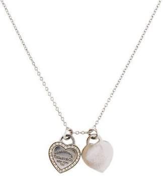 Tiffany & Co. 18K Diamond Double Heart Tag Pendant