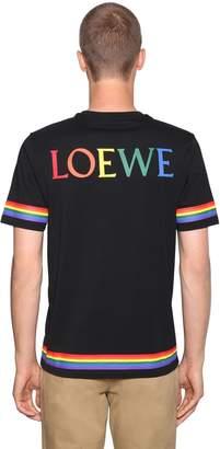 Loewe Logo Print Rainbow Cotton Jersey T-Shirt