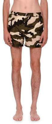 Valentino Camouflage Short Swim Trunks, Green/Black/White $495 thestylecure.com