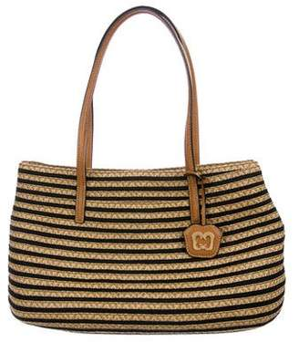 Pre Owned At Therealreal Eric Javits Straw Leather Trimmed Bag