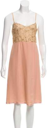 Marc Jacobs Embroidered Midi Dress w/ Tags Tan Embroidered Midi Dress w/ Tags