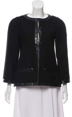 Chanel Leather-Trimmed Bouclé Jacket