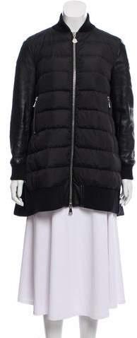 Moncler Blois Leather Trim Coat