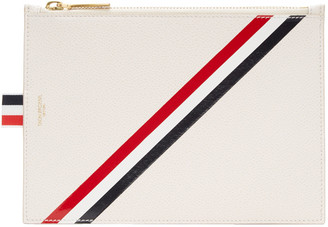 Thom Browne Off-White Large Diagonal Stripe Coin Purse $530 thestylecure.com