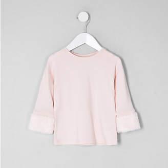 River Island Mini girls light Pink faux fur cuff top