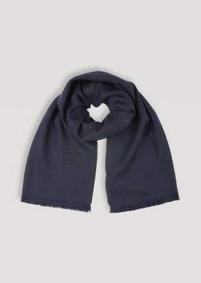 Emporio Armani Scarf In Virgin Wool With Embroidered Logo
