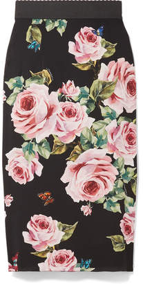 Dolce & Gabbana - Floral-print Stretch-silk Charmeuse Midi Skirt - Black