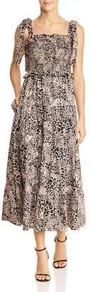 Rebecca Taylor Leopard Print Tie-Strap Dress