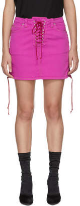 Unravel Pink Over-Dyed Side Lace-Up Denim Miniskirt