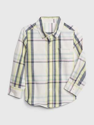 Gap Toddler Plaid Button-Down Long Sleeve Shirt