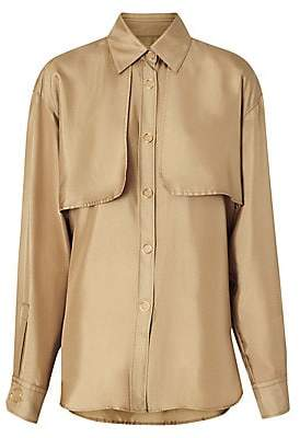 Burberry Women's Gold Ring Vented Silk Blouse