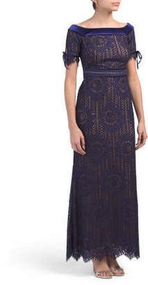 Petite Tie Sleeve Boat Neck Lace Gown