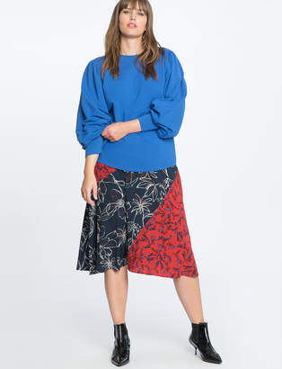 Mixed Print Midi Skirt