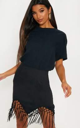 36305787 PrettyLittleThing Black Tassel Hem Mini Skirt
