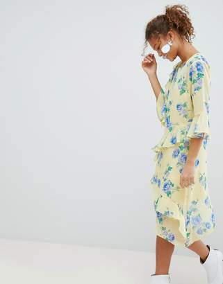 Miss Selfridge Floral Print Ruffle Midi Dress