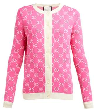 Gucci Gg Jacquard Knit Cotton Cardigan - Womens - Pink White