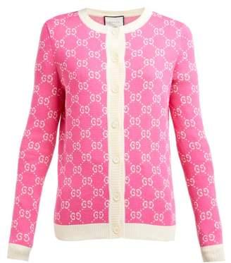 Gucci Gg Jacquard Knit Cotton Cardigan - Womens - Pink White
