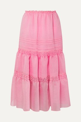 See by Chloe Tiered Organza Midi Skirt - Pink