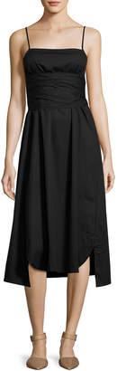 Elizabeth and James Oak Waist-Tie Poplin Midi Dress, Black