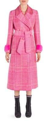 Fendi Prince of Wales Belted Mink-Trim Coat