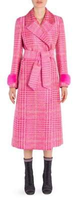 Fendi Prince of Wales Belted Mink-Trim Coat