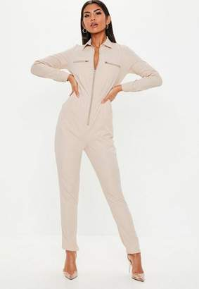 Missguided Sand Zip Long Sleeve Utility Romper