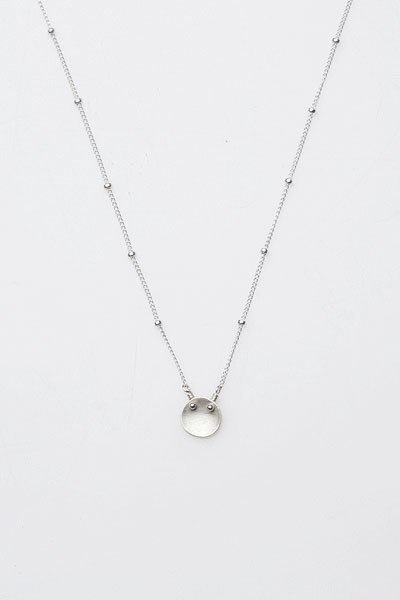 Adina Tiny Disc Necklace in Silver