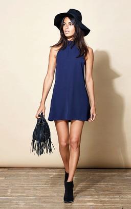 M Blue Dancing Leopard - Navy Mini Dress - M - Blue