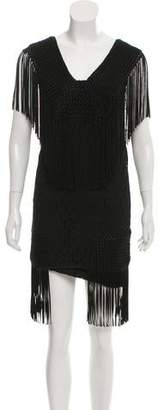 Anna Sui Sleeveless Fringe-Accented Mini Dress