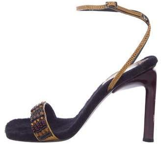 Sergio Rossi Embellished Lizard Sandals