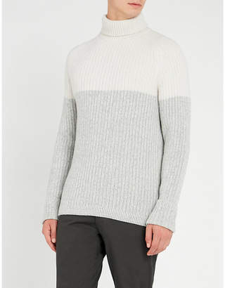 Falke Two-tone wool and cashmere-blend jumper