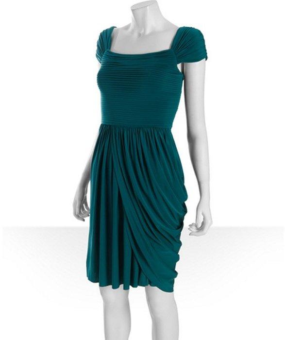 BCBGMAXAZRIA deep jade jersey 'Mikaela' draped skirt dress