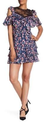 Rebecca Taylor Open Shoulder Tea Rose Silk Blend Dress